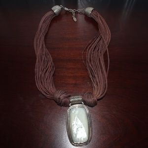 Barse 925 SS MOP Rope Corded Statement Necklace